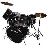 Schlagzeug Set komplett + Ständer, Becken, Hocker, schwarz