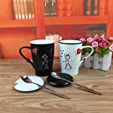 BonZeal Beautiful Lovely Drinking Tea Coffee Mug Printed Boy & Girl Black White Ceramic Cup With Spoon Lid