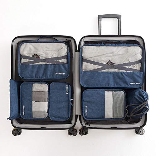 JFSKD Reiseaufbewahrungstasche, wasserdichte 7-in-1-Würfel-Gepäckaufbewahrungstasche für Kleidung, Kosmetika, Schuhe,darkblue