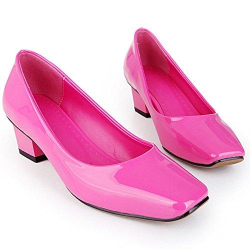 COOLCEPT Femmes Mode Slip On Heel Chaussures Bloc Talon moyen Escarpins Rouge