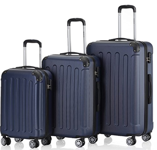 Zwillingsrollen 3 tlg.2045 neu Reisekofferset Koffer Gepäckset Kofferset Trolleys Hartschale in 14 Farben (Dunkelblau)