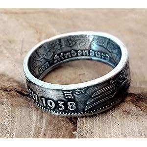 Coinring, Münzring, Ring aus Münze (2 Mark Deutsches Reich 1937-1939), 625er Silber - Double Sided coin ring - verschiedenen Größen, handgeschmiedetes Unikat