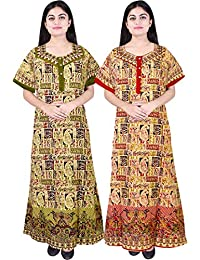 bf658e44c2 Silver Organisation Women's Cotton Nighty, Nightdress (Multicolor, Free  Size) Combo Pack of