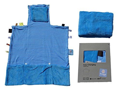snoozebaby 2in1 Wickelunterlage und Fühltuch zusammenfaltbar 36x36x54 cm blau für unterwegs