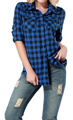 Yidarton Damen Langarmshirt Kariertes Hemd Slim Fit Freizeit Abgerundeter Saum Bluse Shirt Oberteil (X-Large, Blau) (Kariertes Blau Flanell-hemd)