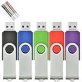 AreTop 5pcs 512MB USB 2.0 Flash Drive Swivel Memory Stick (5 Colours-2)