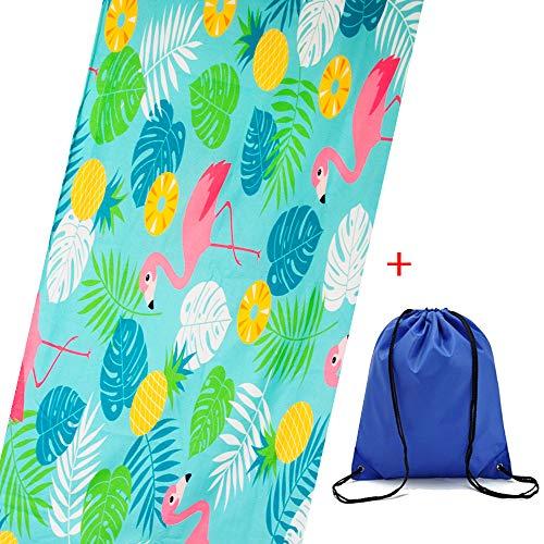 MMTX Hawaii Flamingos Strandtücher rechteckig Mikrofaser-Handtuch weich leuchtende Farben Strandtuch für Bad Strand Pool Picknickdecke saugfähig langlebig mit Tasche (70 x 150 cm) - Hawaii-handtuch