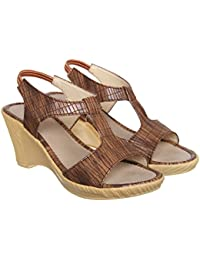 XE Looks Synthetic Croco Leather Casual And Party Wear Sandal Wedges For Women