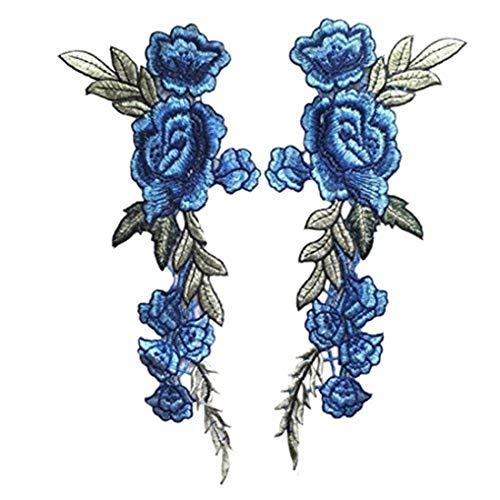 Rosen-Aufnäher, gestickt, 2 Stück, Bügelbilder zum Aufnähen oder Aufkleben, Stoff, blau, 28x10cm