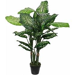 MICA Decorations 1026438dieffenb achia en Maceta Verde–H120x d60cm Planta Artificial, Goma, Verde, 60x 60x 120cm