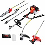 Fox Garden Commander 4 in 1 2-Stroke Heavy Duty 52cc Engine, Petrol Hedge Trimmer, Grass Trimmer, Brush Cutter, Chainsaw, Strimmer, Pruner, Long Reach Multi Function Gardening Tool 2 YEAR WARRANTY
