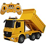 Fisca RC Dump Truck Authorized By Mercedes-Benz Arocs Remote Control Heavy Construction Engineering Vehicle 6 Channel 2.4G Full Function Electronics Hobby Toys With Lights And Simulation Sound