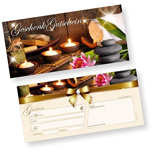 TATMOTIVE Geschenkgutscheine Wellness (1000 Stück) einfach Werte eintragen + Stempel, für Massage & Beauty