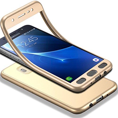 Für Galaxy J5 2016 Hülle + Panzerglas, HICASER 360 Grad Komplettschutz Vorder und Rückseiten Schutz Schale Ganzkörper-Koffer Soft TPU Schutzhülle für Samsung Galaxy J5 (2016) J510 Gold