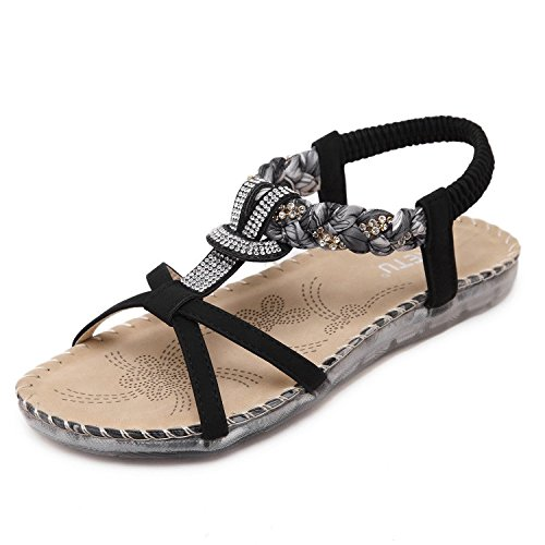 Minetom Damen Mädchen Sommer Sandalen Strandschuhe Böhmische Stil Strass Peep Toe Flache Schuhe Schwarz EU 41 (Strass Schuhe Kinder)