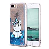 Mosoris Coque iPhone 8 Glitter Liquide Cover Mode 3D TPU Etui Licorne iPhone 7 Transparent Souple Silicone Etui Housse Bling Paillettes Flowing Sand Case pour iPhone 7/8, Bleu