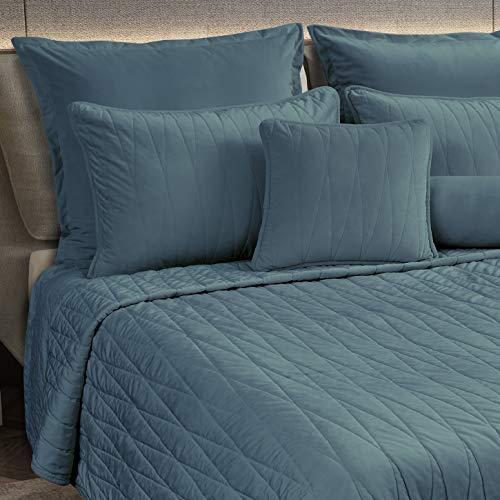 Maison Atlas Jewel Bettwäsche-Set aus Samt Jewel Jewel Quilt, Full/Queen Blue Green Slate -