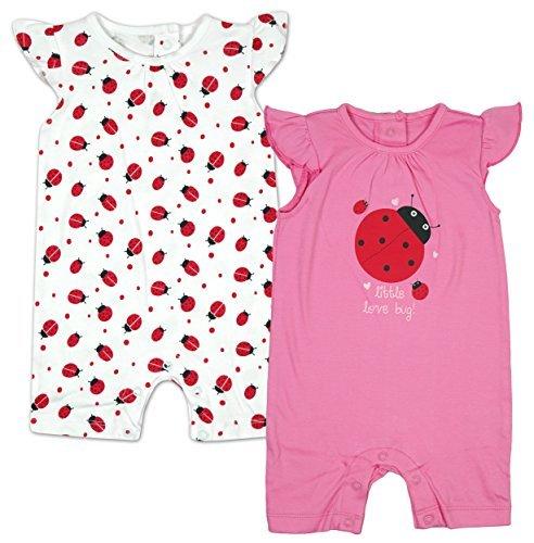 Mädchen PACK OF 2 Kleiner Love Bug Marienkäfer Strampler größen von Winzig Prem Baby bis 18 Months - Rosa, 0 - 3 Months -