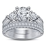 Vorra Fashion White Platinum Plated 925 Sterling Silver Round Cubic Zirconia Engagement Bridal Ring Set (7)