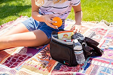 Revival pique-nique Sac isotherme avec poignée de transport Grandes poches latérales et bandoulière 121,9cm, noir, Taille L