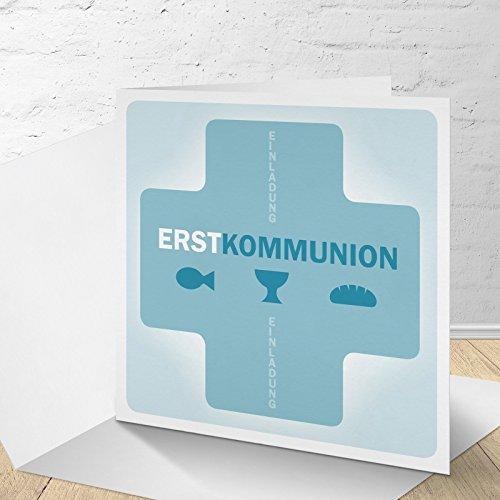 5 Karten zur Kommunion mit Umschlägen, Einladungskarten zur Kommunion, Klappkarten im Set zu 5 Stk.