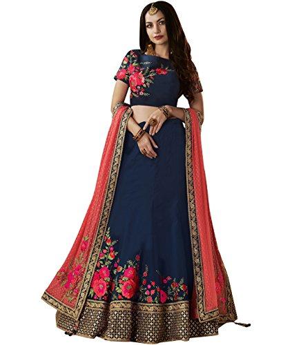 Indian Ethnicwear Bollywood Pakistani Wedding Blue Flare Lehenga Semi-stitched