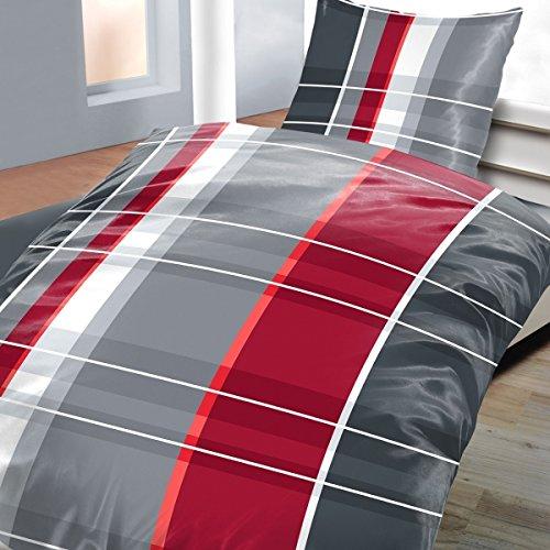 Bettwäsche Mikrofaser BASSAM, 2-teilig, grau - Rot Bettbezug