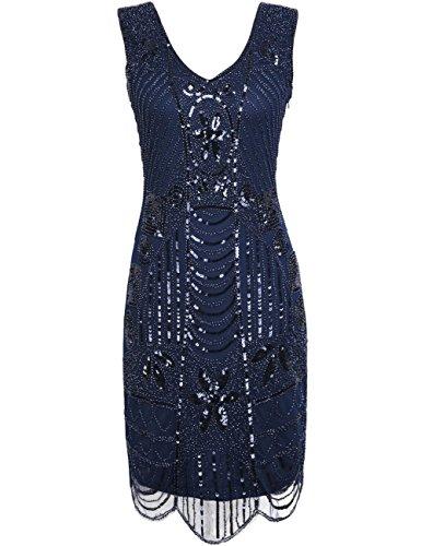Kayamiya Damen Retro 1920er Perlen Pailletten Blatt Art Deco Gatsby Flapper Kleid XXL Blau