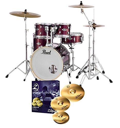 Pearl-Export-EXX725S-Drum-Kit-Red-Wine-Zildjian-Planet-Z-Cymbals