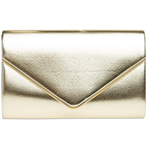 CASPAR TA372 Damen elegante Envelope Clutch Tasche / Abendtasche mit langer Kette, Farbe:gold;Größe:One Size (Gold-leder-abendtasche)