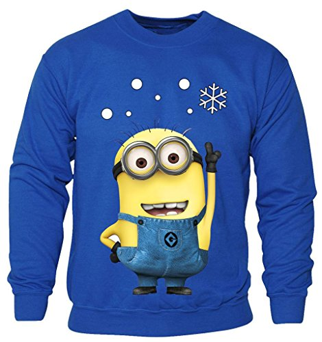 New Kids Childrens Boys Girls Minions Cartoon Movie Character Christmas Sweatshirt Jumpers 2-14 years (Kids 7-8 Years) Royal Blue