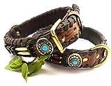 Mad Dog deLuxe Hundehalsband Typ Siox braun Leder Hunde HALSBAND Handarbeit Indianer Style 13, Büffelleder Größe Grösse:S 52- 3.5 cm Breit Perlen Türkis Rot Weiß