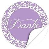 48 Design Etiketten, rund / Danke / Hochzeit / lila Vintage / Liebe / Heirat / Aufkleber / Sticker / für Einladungen / Feiern