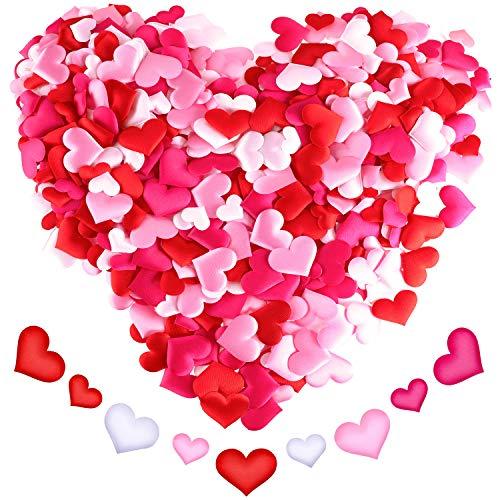 680 Stück Herzform Blütenblätter Herz Konfetti Satin Herzen Scatter für Valentinstag Hochzeiten Dekoration, 4 Farben und 2 Größen