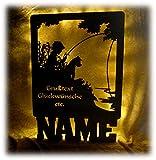 Schlummerlicht24 Fisch Fischer Junge Lampe mit Name lustige witzige Fun Geschenke mit Namen für einen Hobby Angler