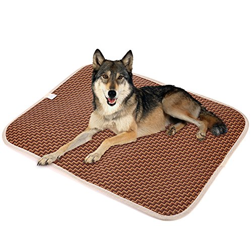 Rrimin Summer Pet Dog Cat Cooling Mat Rattan Mattress Pet Dog Cat Cushion Sofa Bed (L)