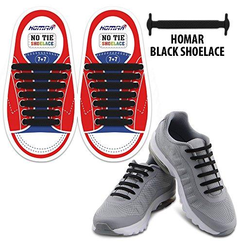Homar sin corbata Cordones de zapatos para niños y adultos Impermeables cordones de zapatos de atletismo atlética de silicona elástico plano con multicolor de los zapatos del tablero Sneaker boots (Kid Size Black)