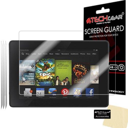 TECHGEAR [3 Stück Displayschutz für Amazon Kindle Fire HD 7.0 Zoll (3. Gen. 2013) - Ultra Klare Schutzfolie mit Reinigungstuch + Applikationskarte