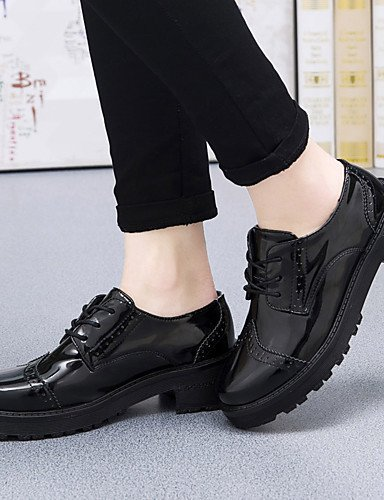 ZQ Scarpe Donna-Stringate-Ufficio e lavoro / Formale / Casual-Zeppe / Alla schiava-Zeppa-Di pelle-Nero , black-us8.5 / eu39 / uk6.5 / cn40 , black-us8.5 / eu39 / uk6.5 / cn40 black-us5.5 / eu36 / uk3.5 / cn35