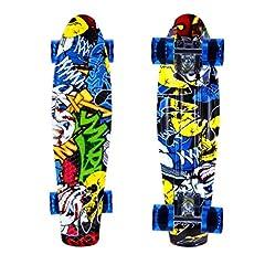 Idea Regalo - ENKEEO 57cm Fish Board Mini Cruiser Skateboard 4 PU Ruote per Principiante Bambini, Giovani e Adulti, Burlone