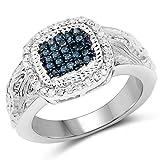 Ring Sterling-Silber 925 0,28 Karat echter blauer Diamant und weißer Diamant