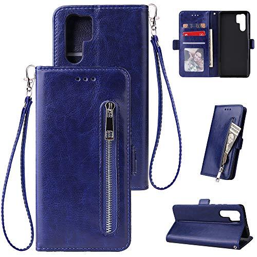 ZCXG Kompatibel Mit Handyhülle Huawei P30 Pro Hülle Leder Blau Magnet Brieftasche für Damen Männer Weich Silikon Inner TPU Case Tasche Leder Stand Flip Cover mit Kartenfach Schutzhülle 8830 Cover