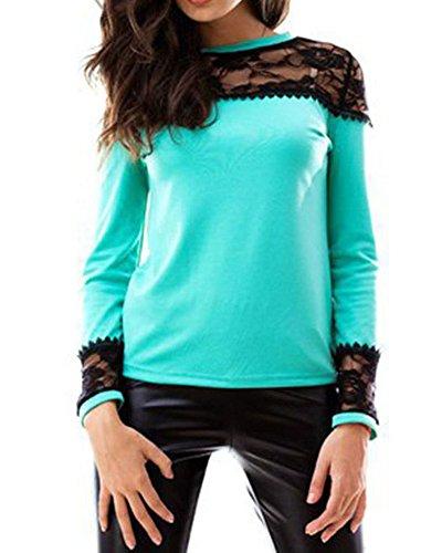 LaoZan Femmes Blouse Chemise Shirt Top Haut Dentelle Col V Manches Longues Idéal pour Automne Bleu X-Large