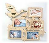 Wand Bilderrahmen Bilder Collage mit Namen und Geburtsdaten zur Geburt Geschenke für das Baby Zimmer erstes Jahr Babygeschenke für Mädchen und Junge