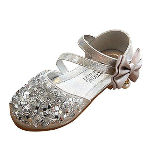 TPulling Mode Sommer Und Frühling﹛1T-3.5T﹜Kinder Mode Mädchen Jungen﹛Pailletten Bogen﹜Blumen Strass Mit Glänzenden Sneaker Tanzschuhe Schuhe Turnschuhe Lässige Schuhe (Silber, 24=EU:23) (Schuhe Kinder Strass)