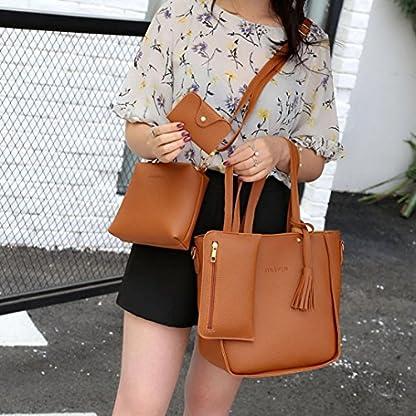 Handbag, Shoulder Bags,TUDUZ Women Fashion Casual Four Set tassel Handbag Shoulder Bags Four Pieces Tote Bag Messenger… 9