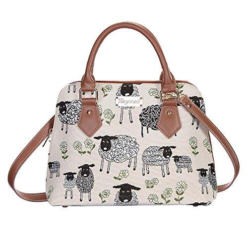 Signare Einzigartige Damen Top Griff Tasche Gobelin Schulter Handtasche mit Griff/Spring Lamm (CONV-SPLM) -