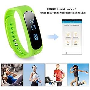 Diggro Bracelet Bluetooth Connecté Smartphone Android et Apple iOS iPhone - Fonction Podomètre / Rappel Message ou Appel - Smartband de Sport Etanche - Vert