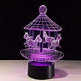 Mm-yedeng Schöne Karussell 3D-Night Light Led Remote Touch Trojan Schreibtisch Tischleuchte 3D-Lampe, 7 Farben, Usb- Und Aa-Batterien Indoor Leuchte