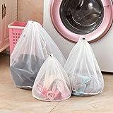 DWR 3pcs malla de lavandería bolsas, reutilizable plegable cordón ropa bolsa de lavado para lavadora ropa Red de protección